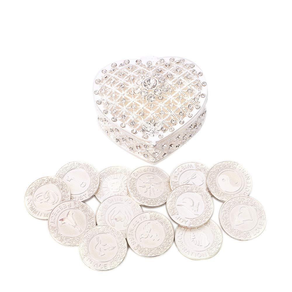 TINGKU English Silver Wedding Unity Coins Set Arras de Boda Wedding Arras Coins Ceremony Souvenirs Accessories with Heart Shaped Box