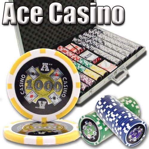 1000 ACE Casino Poker Chips. 14 gram Heavy Weighted Laser Graphic Poker Chip Set. by Heavy Weight