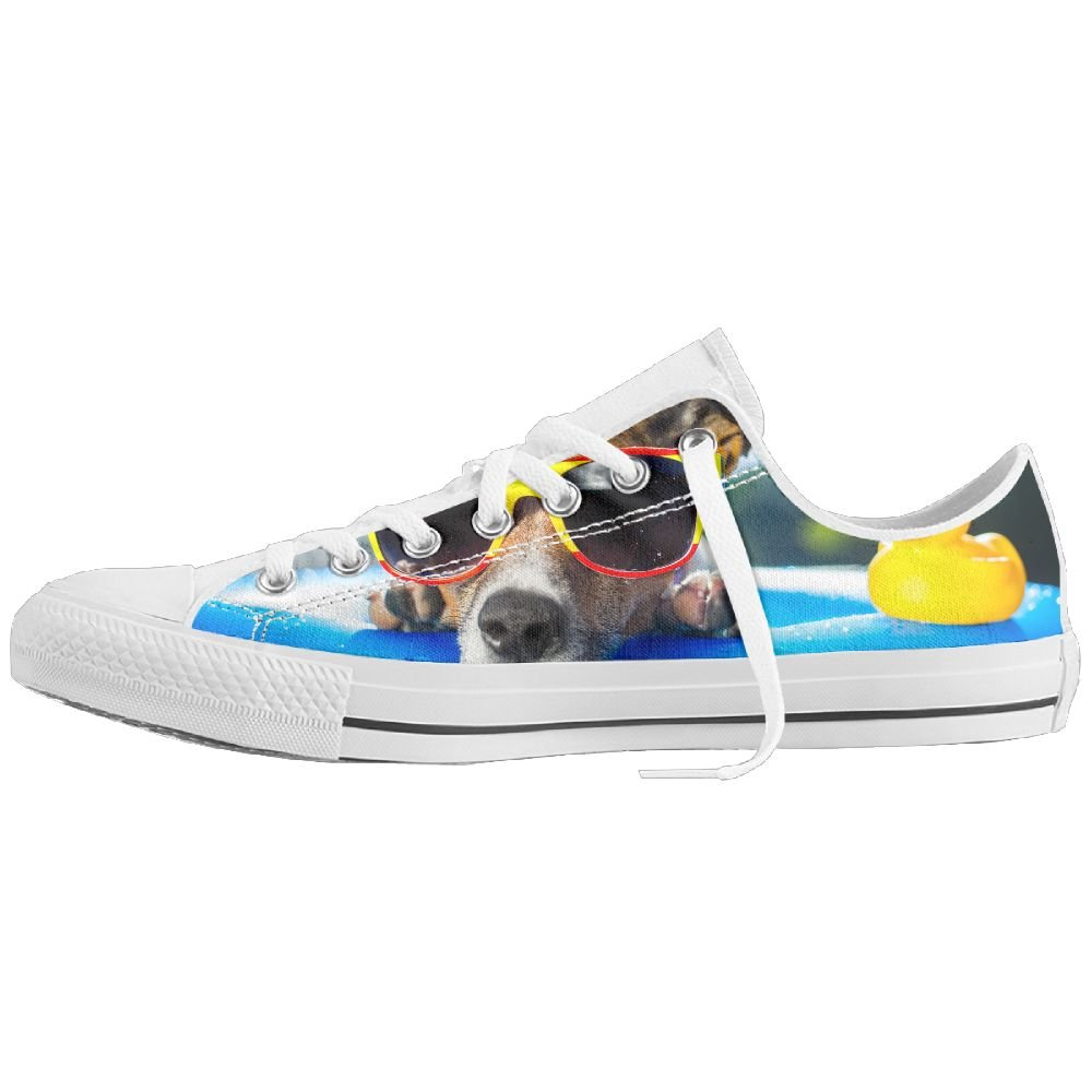 Dog Wearing Sunglasses Women's Tennis Basic Athletic Sneaker Canvas Shoes Low Top Lace Up Flat Fashion