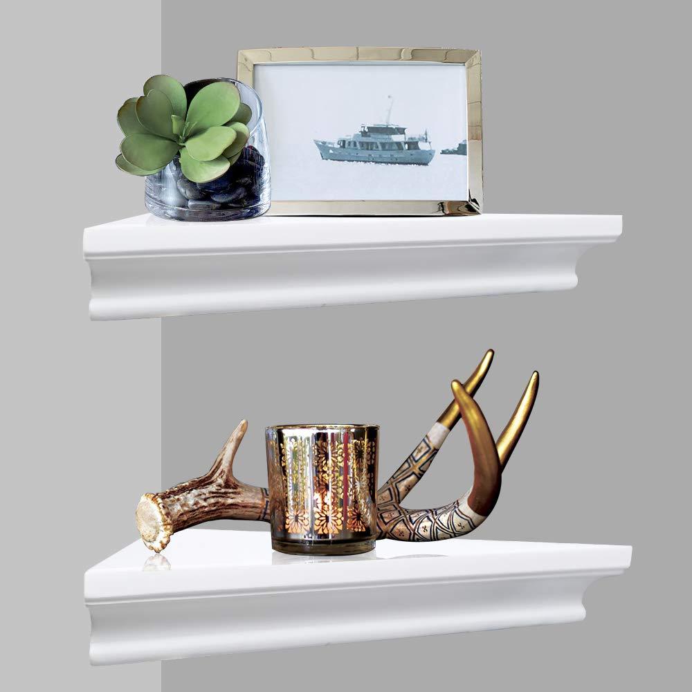 AHDECOR Decorative Floating Corner Wall Shelf, Wall Mounted Shelves Set of 2 (Dark Brown)