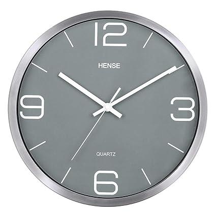 cd319a0b2ba Hense 12 Inches Slient Wall Clocks Stylish Elegant Modern Non-ticking Metal  Round Wall Clock