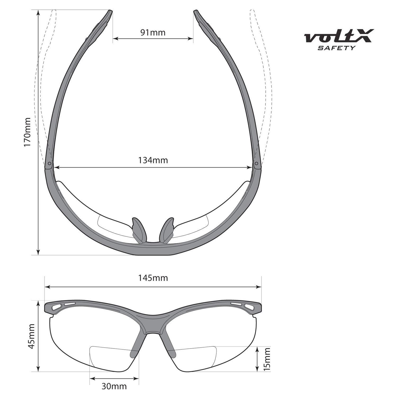 CE EN166f Zertifiziert//Sportbrille f/ür Radler enth/ält Sicherheitsband mit headstop +1.0 Dioptrie klare, gelbe /& polarisiert Scheibe 3 x voltX Constructor BIFOKALE Schutzbrille mit Lesehilfe