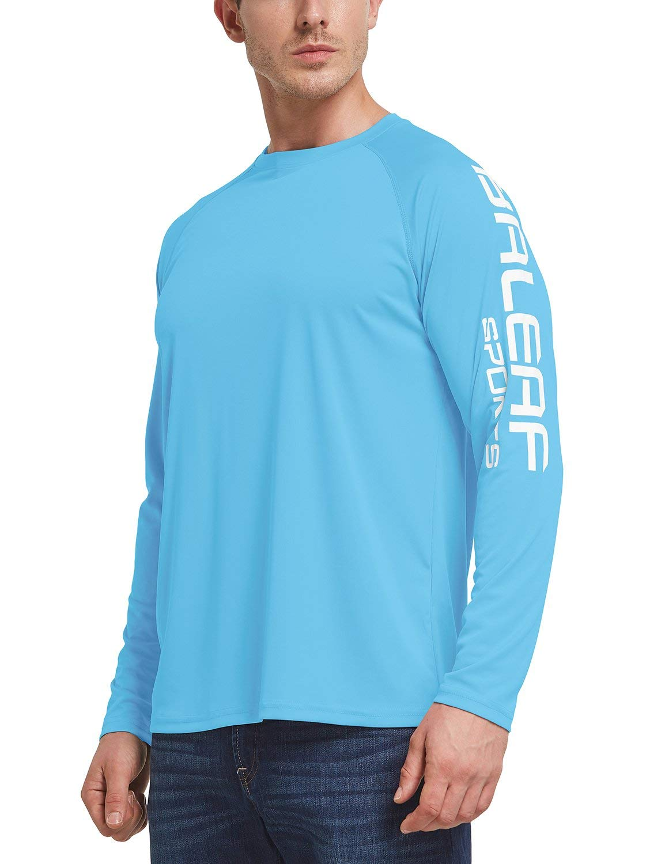 BALEAF Men's UPF 50+ Outdoor Running Long Sleeve Logo T-Shirt Blue Size M by BALEAF