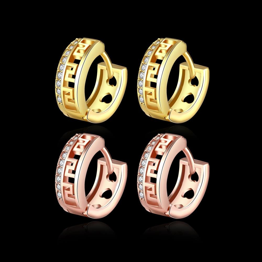 Fashion Hoop Earrings Cubic Zirconia Round Hollow Earrings Charms Charmpgine Gold Plating