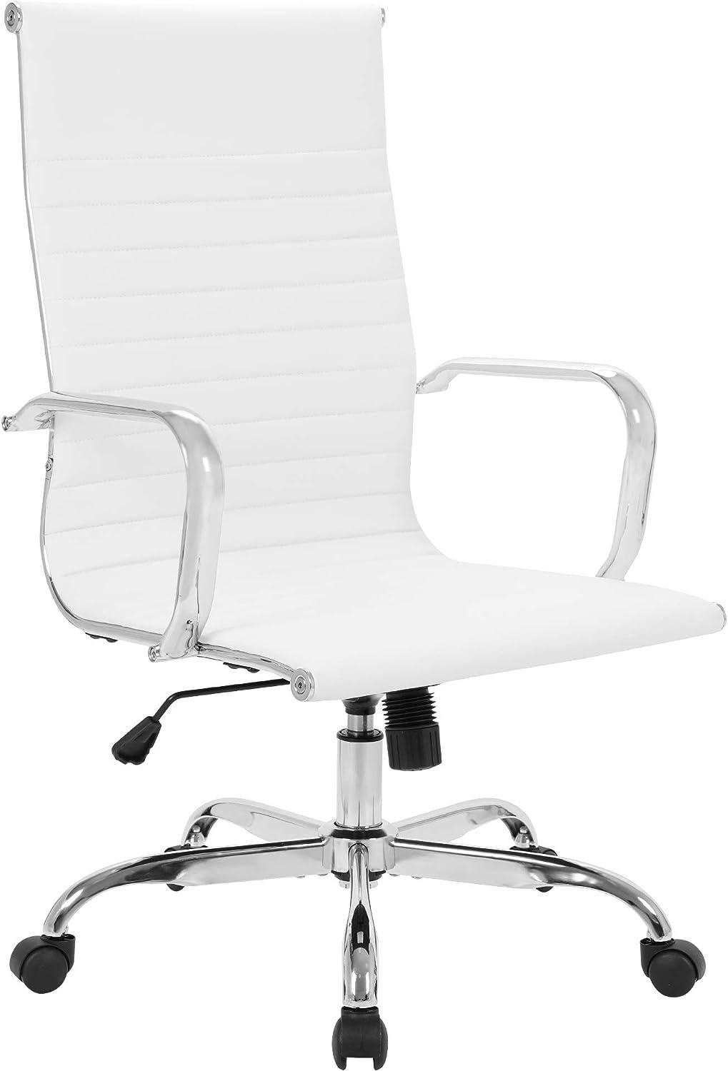 LANDSUN Modern High Back Office Chair Leather Ribbed Swivel Tilt Adjustable Home Computer Desk Chair with Armrest Executive Ergonomic White