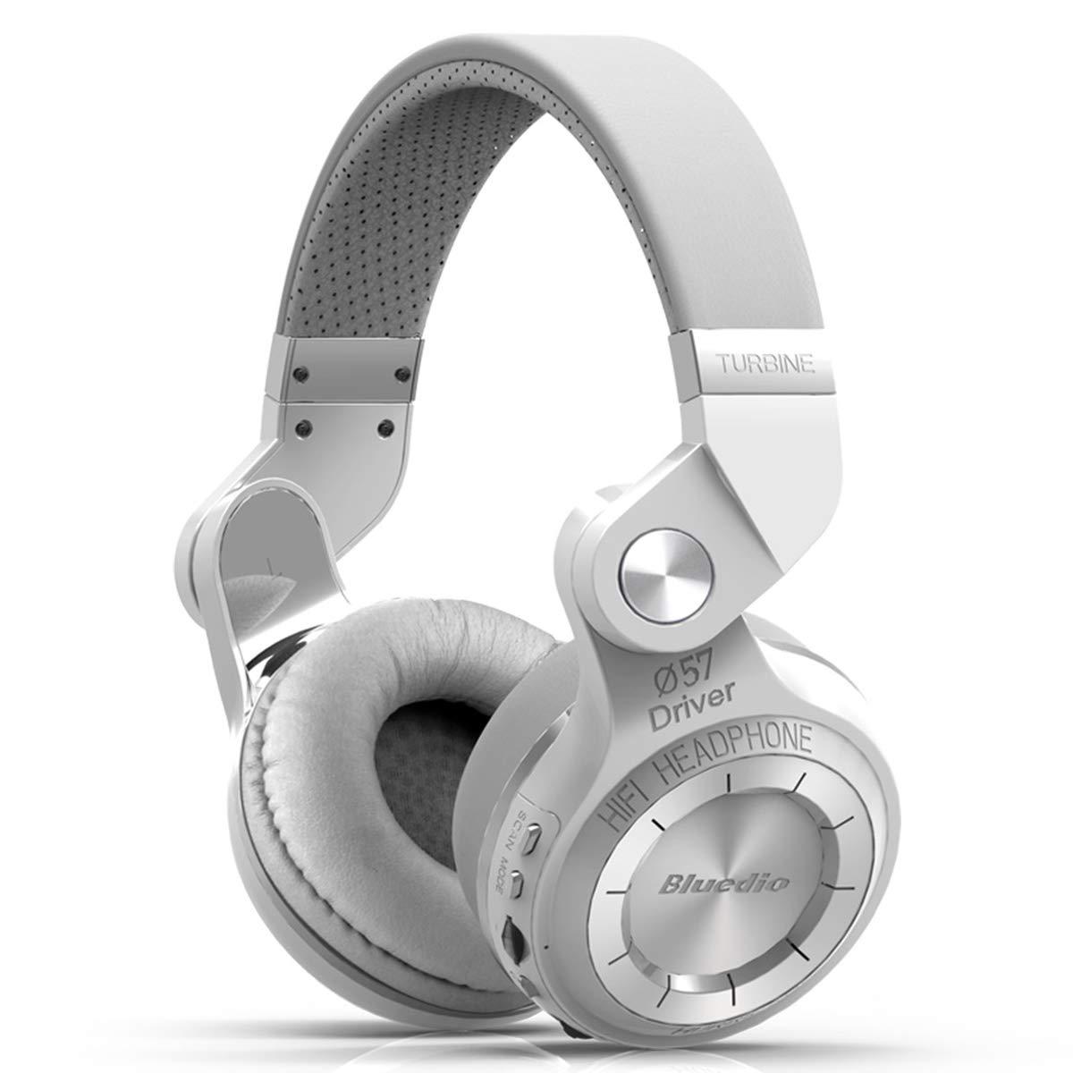 Bluedio T2 Plus Turbine Wireless Bluetooth Headphones with Mic/Micro SD Card Slot/FM Radio (White)