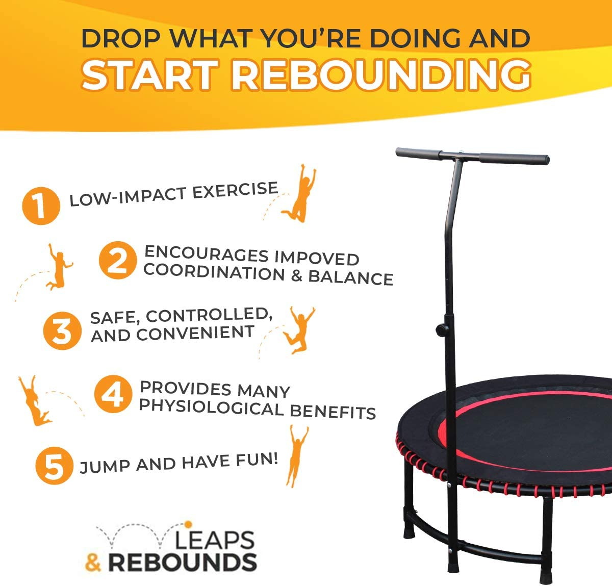 LEAPS /& REBOUNDS: Adjustable Stabilizer Bar Easy Assembly Fits All L/&R Fitness Trampolines Trampoline Sold Separately Grippable /& Cushy Foam Handles Slips Over Existing Legs