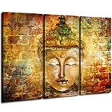 DAXIPRI Shakyamuni Buddha Canvas Printing Hanging Pictures Mural Lnner Frame Office Home Suspension 3 Panel Painting Size:16 x 32 inch x 3 (40 x 80 cm x 3)