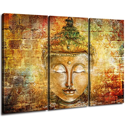 uddha Canvas Printing Hanging Pictures Mural Lnner Frame Office Home Suspension 3 Panel Painting Size:16 x 32 inch x 3 (40 x 80 cm x 3) ()