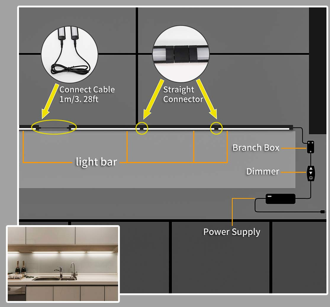 MYPLUS LED Under Cabinet Lighting, 4 pcs 12 inches Extremely Soft Kitchen Lights 12W, 840lm With 10 Levels Dimmable LED Under Counter Lights, for Kitchen Cabinet,Counter,Workbench etc - 3000K by MYPLUS (Image #6)