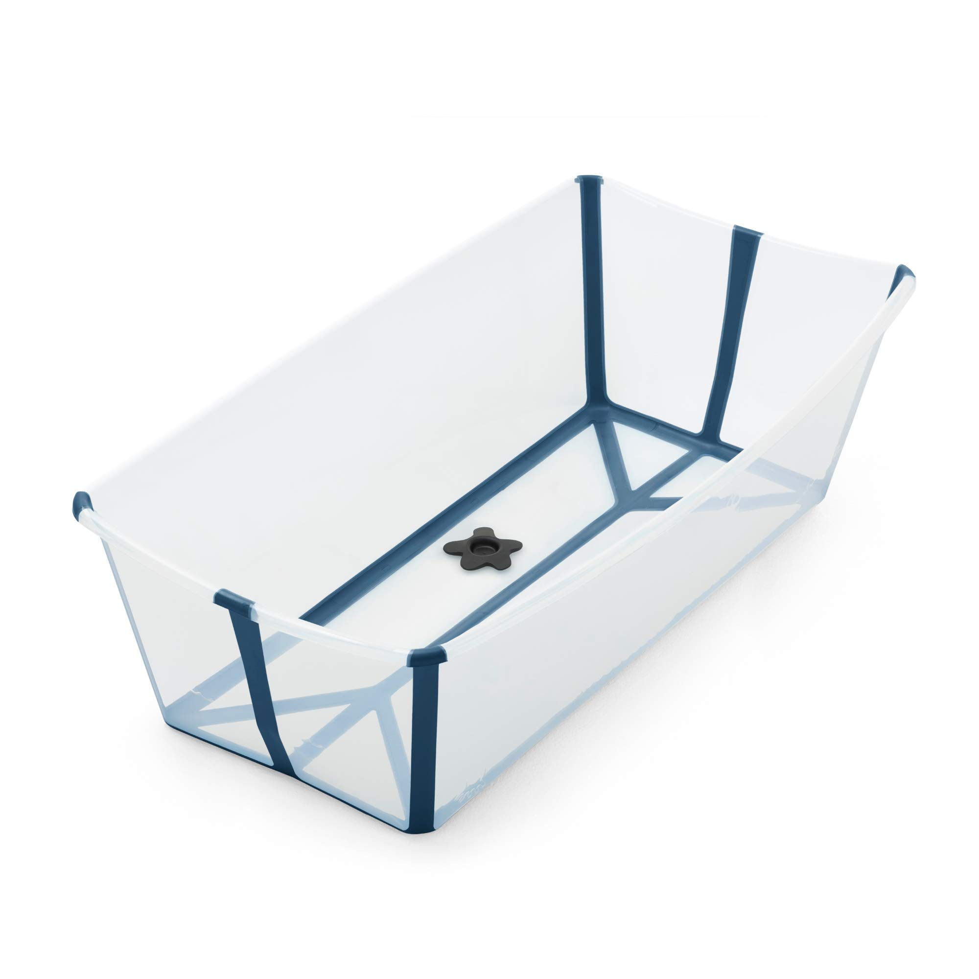 Stokke Flexi Bath X-Large, Transparent Blue - Spacious Foldable Baby Bathtub - Lightweight & Easy to Store - Convenient to Use at Home or Traveling - Best for Ages 0-6