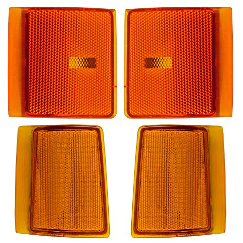 4 Piece Set Upper and Lower Signal Side Marker Lights Lamps Replacement for GMC Pickup Truck (Marker Lamp Set)
