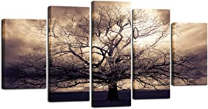 sechars - 5 Piece Large Canvas Wall Art Sepia Tree of Life Picture Photo Art Print on Canvas Mysterious Fantasy Forest Artwork for Home Office Living Room Decor Gallery Wrap Ready to Hang