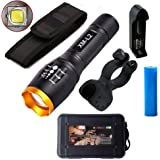 cyful 2000 Lumen Flashlight, CREE XM-L2 5 Mode LED Torch, Super Bright Zoomable Torch Skidproof Shockproof Handheld LED Torch Light,Water Resistant Torch for Biking Camping Ourdoor Sport with Battery