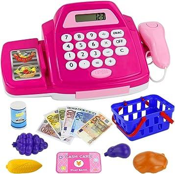 Nuheby Caja Registradora con Escáner, Dinero de Juguete, Sonido y Luz, 18pcs Accesorios de Juego de rol de Supermercado, Simulación y Imaginación Juguetes Educativos para Niños de 3 4 5 Años: Amazon.es:
