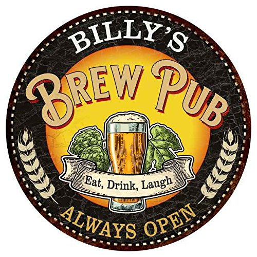 (BILLY'S Beer Pub Man Cave Sign Home Wall Décor Gift 12 inch Round Hi Gloss Metal Sign G12-R1400194)