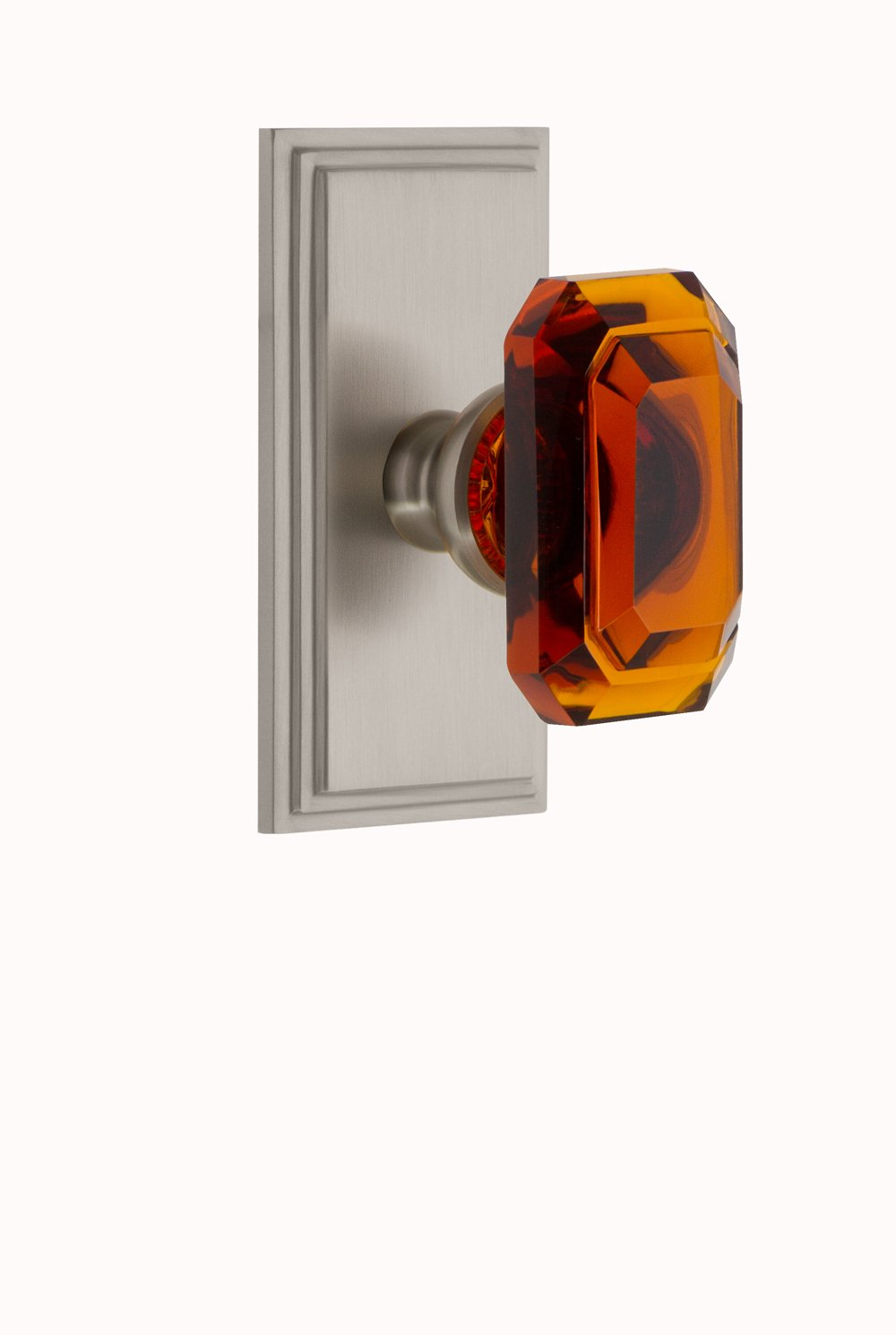 Grandeur 827763 Carre Plate Passage with Baguette Crystal Knob in Polished Nickel 2.375