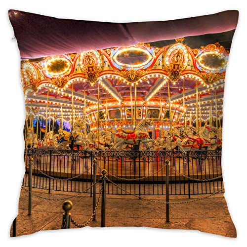 - Reteone Carnival Carousel Funny Illustration Pillowcase Covers - Zippered Pillow Case Cover, Pillow Protector, Best Throw Pillow Cover - Standard Size 18x18 Inch, Double-Sided Print Pillowcases