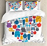 Fitness Duvet Cover Set King Size by Ambesonne, Sports and Healthcare Icons Forming a Heart Shape Clean Eating Athletic Training, Decorative 3 Piece Bedding Set with 2 Pillow Shams, Multicolor