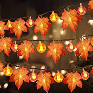 TOPLEE 3 Pack Thanksgiving Pumpkin Lights Decorations Maple Fall String Lights, Thanksgiving Fall Lights 30 ft 60 LED Waterproof Battery Operated Fall Garland for Indoor Home Outdoor Decor Holiday