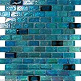 USA Premium Store 10SF Blue Iridescent Glass Mosaic Tile Kitchen Backsplash Faucet Pool Floor Sink