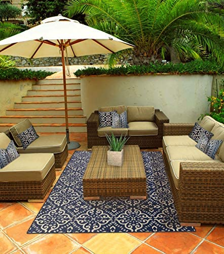 Indoor Outdoor Woven Patio Mat RV 8.5/'x10/' Camping Picnic Carpet Deck Rug