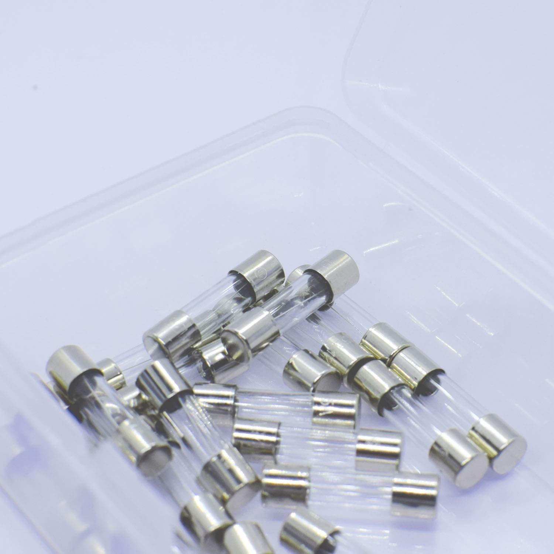 25 Pcs F5AL Mini Fast-Blow Glass Fuse 5A 125V Micro Tube Fuses with Plastic Box 5 x 20mm