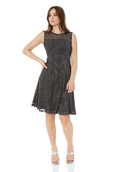 f7d9e399b6f Roman Originals Damen Kleid mit glitzerndem Punktemuster - Damen Skater- Kleider für Weihnachten