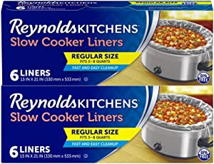 Reynolds Kitchens Slow Cooker Liners, Regular (Fits 3-8 Quarts), 12 Total, 6 Count (Pack of 2)