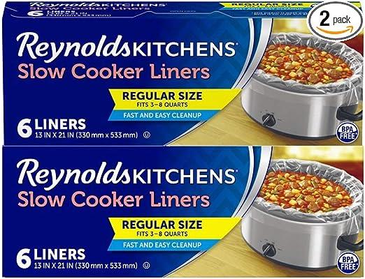 Reynolds G2051100BR Regular Size Slow Cooker Liner, 12 Count, Black