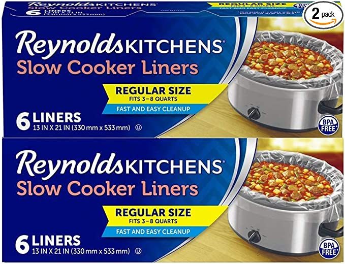 Reynolds Kitchens Slow Cooker Liners, Regular (Fits 3-8 Quarts), 12 Total, 6 Count (Pack of 2)   Amazon