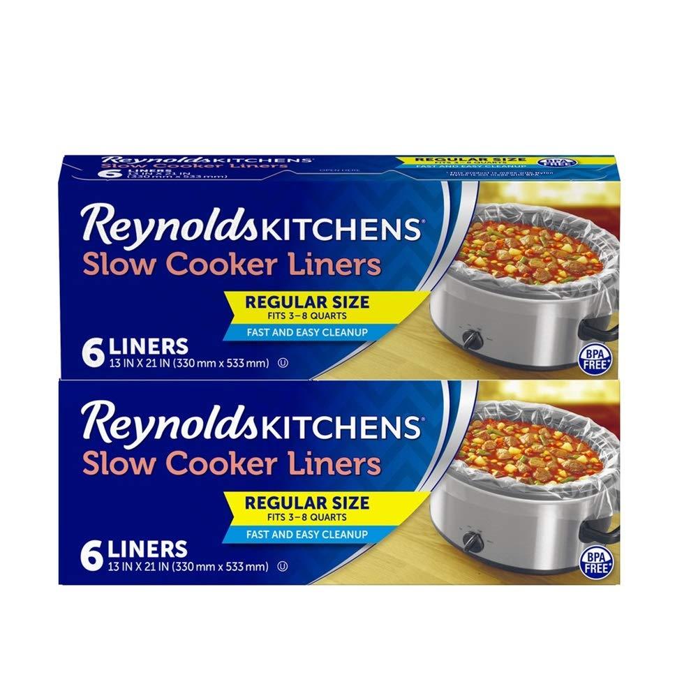 Reynolds Kitchens Slow Cooker Liners, Regular (Fits 3-8 Quarts), 12 Total, 6 Count (Pack of 2)