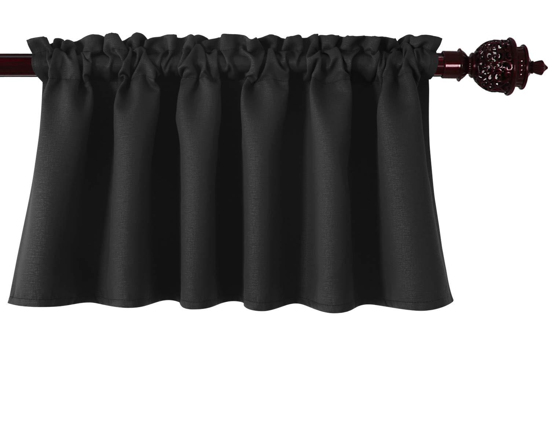 Deconovo Black Valances for Window Kitchen Valance Textured Embossed Blackout Valance Curtain 52x18 Inch 1 PCS