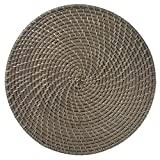 Merritt Rattan 14.5-inch Round Placemats, Set of 6, Gray