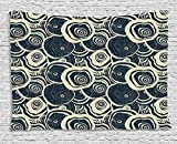 asddcdfdd Grunge Tapestry, Wood Pattern Nature Inspirations Circles of a Tree Abstract Style, Wall Hanging for Bedroom Living Room Dorm, 80 W X 60 L Inches, Dark Blue Pale Reseda Green
