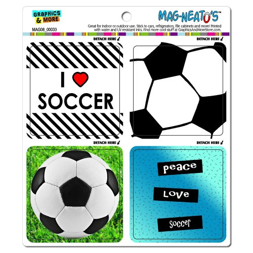 Graphics and More Soccer Player Fan Love Football Mag-Neato's Automotive Car Refrigerator Locker Vinyl Magnet Set ()