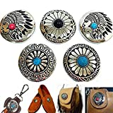 5Pcs DIY Concho Button Retro Bling Turquoise Beads Leathercraft Vintage Button Bohemian Style Mohican Head Indian Head P