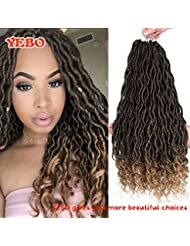 Goddess faux locs wavy curly faux locs crochet hair with curly ends synthetic hair extension(20inch,1B-27)