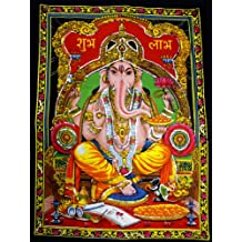 "Lord Ganesha Deity Art Sequin Work Indian God Batik Wall Hanging 43"" x 30"""