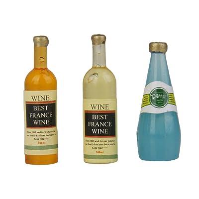 1/12 3pcs Botellas de Whisky Vino en Miniatura Accesorio para Casa de Muñecas: Juguetes y juegos