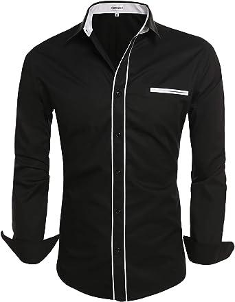 HOTOUCH Camisa para hombre, ajustada, camisa de negocios, manga larga, Comfy Button Down Casual Camisas: Amazon.es: Ropa y accesorios