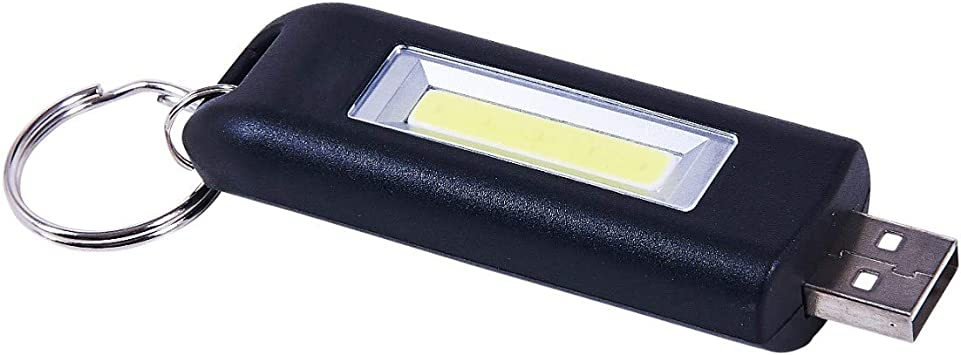Key Fob Torch Rechargeable Usb Mini Cob 60 Lumens Flashing Half Full Light New