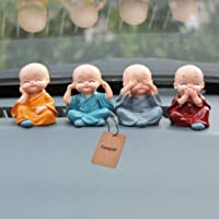 Fansport 4PCS Little Monk Cute Ornaments Car Interior Decoration Desk Decor