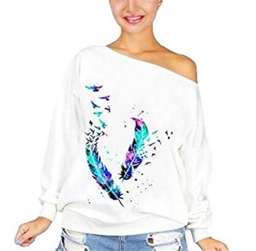 Gogofuture Sudaderas Mujeres Casual Manga Larga Tee Tops Elegante Moda Impreso Camiseta Blusa T-Shir...