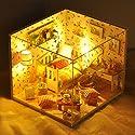 Yunt ドールハウス クリスマス手作りおもちゃ クリスマスハウス DIY LEDライト付属 組み立てキット 照明 点灯 ミニチュア 手作りキットセット 防塵ケース付属