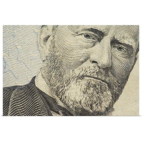 GREATBIGCANVAS Poster Print Entitled Close-up of Ulysses S. Grant on a US Fifty Dollar Bill by 18