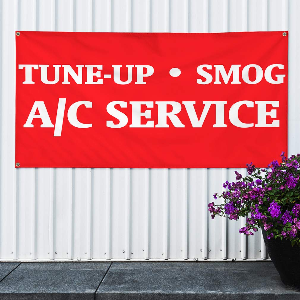 6 Grommets Multiple Sizes Available Set of 2 Vinyl Banner Sign Tune-Up Smog A//C Service Automotive Tune up Marketing Advertising Red 32inx80in