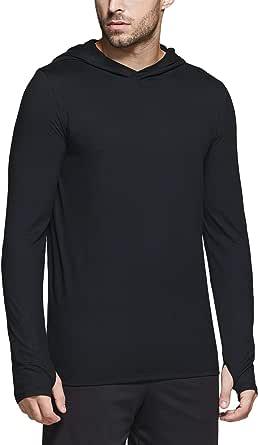 TSLA Men's Peach Skins Long Sleeve Running Hoodie, Lightweight Sports Sweatshirt, Active Performance Hooded Pullover T-Shirts