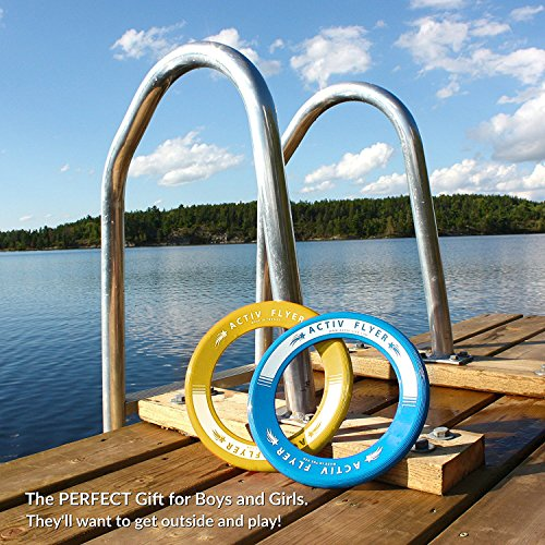 61kskqA4DjL - Best Kids Frisbee Rings [Yellow/Cyan] - Top Birthday Presents & Gifts for Young Boys Girls Ages 3 and Up - Ultimate Outdoor Toss Toys at Beach Vacation, School Playground, Park, Pool Family Fun
