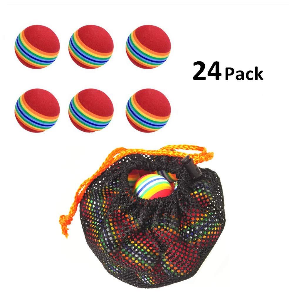 Ilysport 24pcs Sponge Colorful Lightweight Golf Ball for Golf Training Golf Practice and Golf games